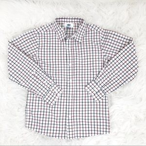 Old Navy Cream Navy Blue Dress Shirt S 6-7